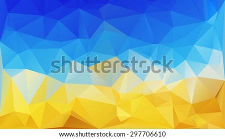 polygonal background like Ukrainian flag - stock vector