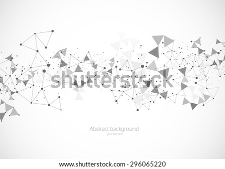 Polygonal background with dot pattern in gray color - stock vector