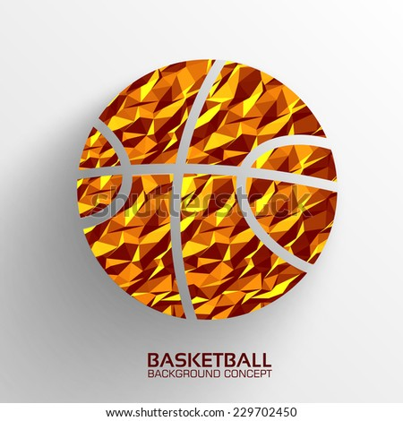 Polygonal basketball vector background concept. Illustration tamplate for web and mobile