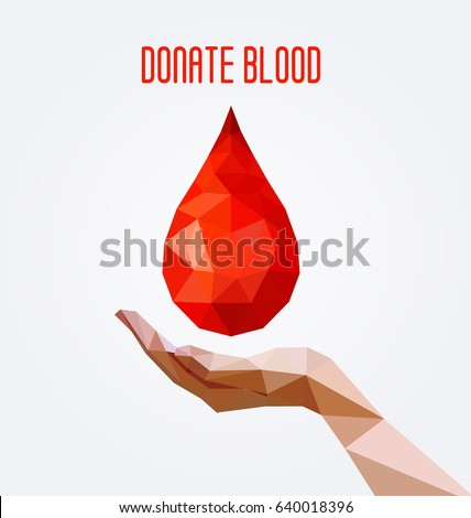 Polygonal blood drop hand poster blood stock photo photo vector polygonal blood drop and hand poster blood donation concept vector illustration altavistaventures Image collections