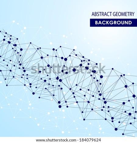Polygonal  blue background. Abstract molecular dna connection vector concept - stock vector