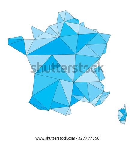 polygonal blue vector map of France - stock vector