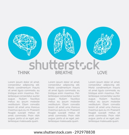 Polygonal brain, lungs, heart infographics instruction guide template - stock vector