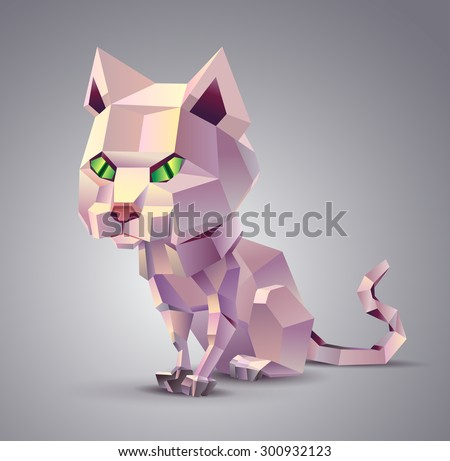 Polygonal cat sitting on a grey background