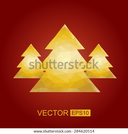 Polygonal Christmas tree vector