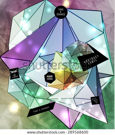 Polygonal cosmic background with quote and labels. Crystal and triangles, low poly illustration - stock vector
