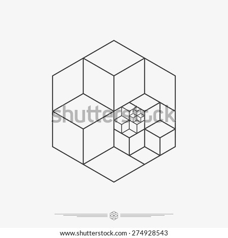 Polygonal cube shapes, 3D illusion, tattoo design, hipster line art vector illustration eps 10