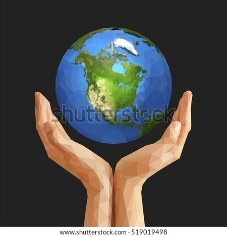 polygonal cupped hands that hold polygon planet earth america black