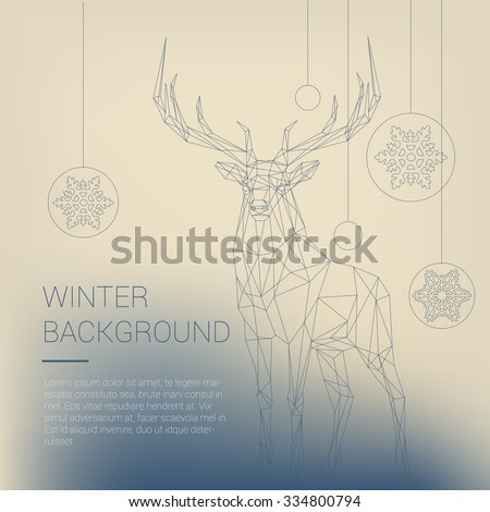 Polygonal dashed lines illustration. Abstract vector Christmas and New Year Deer and template text. Poster, card, invitation, wallpaper. - stock vector
