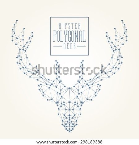 Polygonal deer. Carefully made. Filling, dots and dotted line are separately grouped. Looks good on all kind of printed or web materials. Enjoy! - stock vector