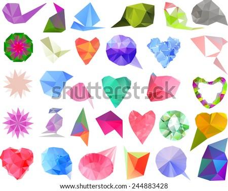 Polygonal design elements, vector set.  - stock vector