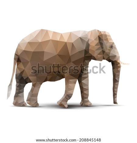 polygonal elephant - stock vector
