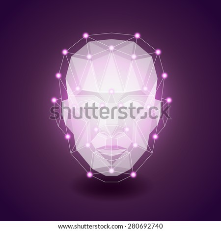 Polygonal face on dark, human concept photo realistic vector background - stock vector