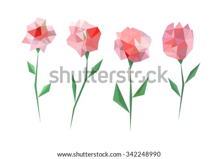 Polygonal flower set. Four different triangle flower with leaves. - stock vector