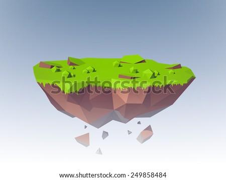 Polygonal flying island fantasy planet landscape emblem vector illustration - stock vector