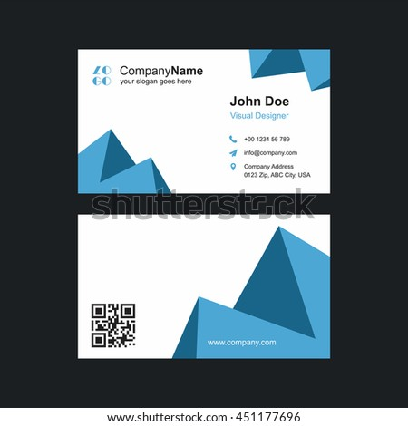 Polygonal Front Back Business Card Template Stock Vector - Front and back business card template