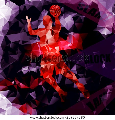 Polygonal geometric basketball vector background with a player silhouette. Vector abstract basketball poster. - stock vector