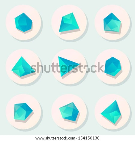 Polygonal geometric figures. Set of design elements - stock vector