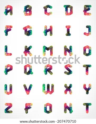 Polygonal Geometric Font Creative Alphabet Typographic Set