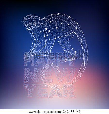 Polygonal geometric monkey. Abstract holidays vector illustration with animal. - stock vector