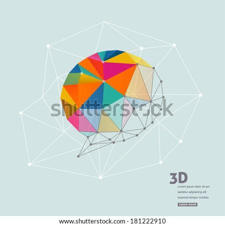 Polygonal geometric, vector 3D speech bubble - stock vector