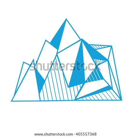 polygonal graphic mountains, icebergs. origami style. minimalistic islands. hipster print template or tattoo design. - stock vector