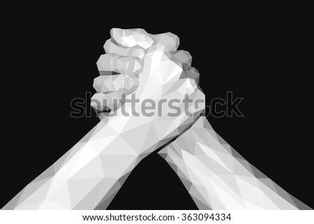 polygonal hand handshake friendly arm wrestling fist up on black - stock vector