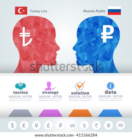 Polygonal Human Heads Finance Thinking Infographics Elements, Russian Rubles and Turkey Lira - stock vector