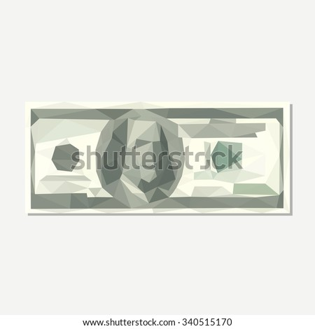 polygonal hundred-dollar bill accuracy - stock vector