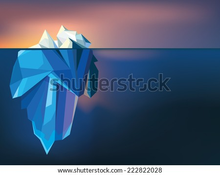 polygonal iceberg landscape on sunset vector illustration in trendy low poly style - stock vector