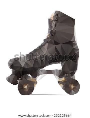 Polygonal illustration of black roller skate isolated on white background - stock vector