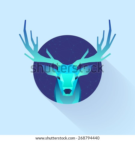 polygonal illustration of deer in circle - stock vector