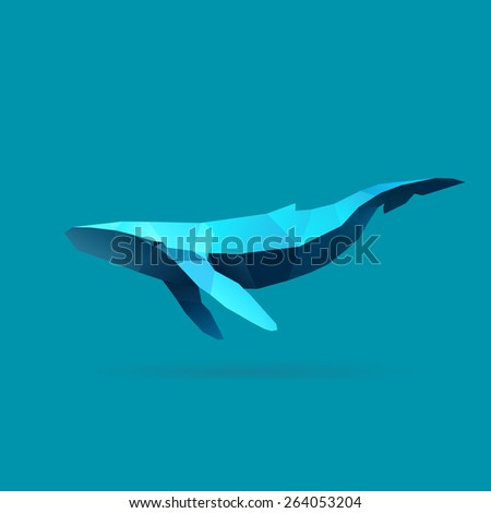 polygonal illustration of whale - stock vector
