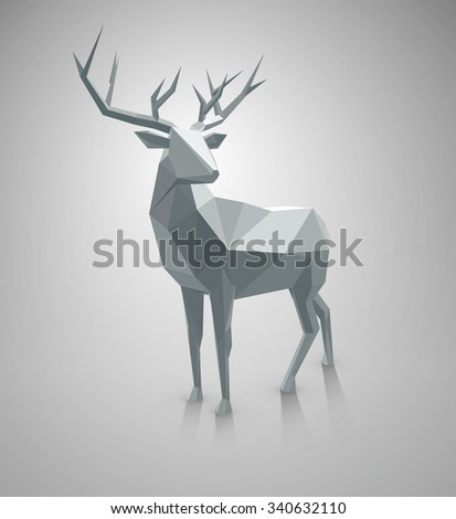 Polygonal illustration. Vector low poly deer, with space for text. Stag  Christmas graphic element for  designs.