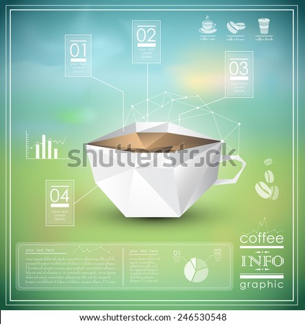 Polygonal infographic of a cup of coffee, icons, charts and info graphic elements, EPS 10 - stock vector