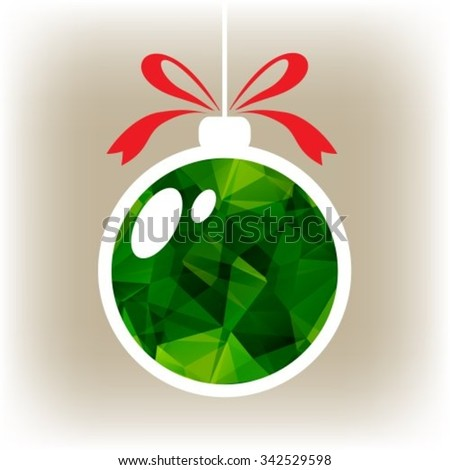 Polygonal isolated Christmas ball with green bright triangles. - stock vector