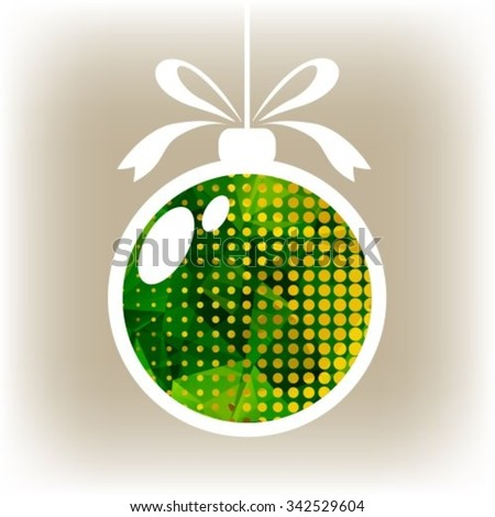 Polygonal isolated Christmas ball with green triangles. - stock vector