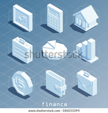 polygonal isometric finance icon set - stock vector