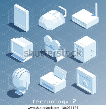 polygonal isometric technology icon set 2 - stock vector