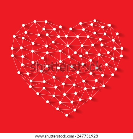 Polygonal low poly valentine heart made from white pins with shadow and thread on red background - stock vector