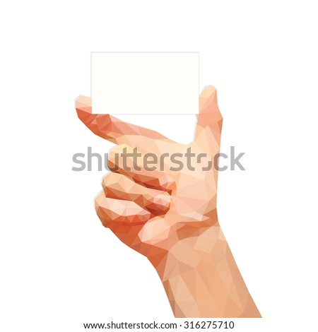 polygonal male hand holding a business card on a white background
