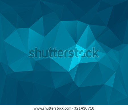 Polygonal mosaic abstract geometry background landscape in blue colors. Used for creative design templates - stock vector
