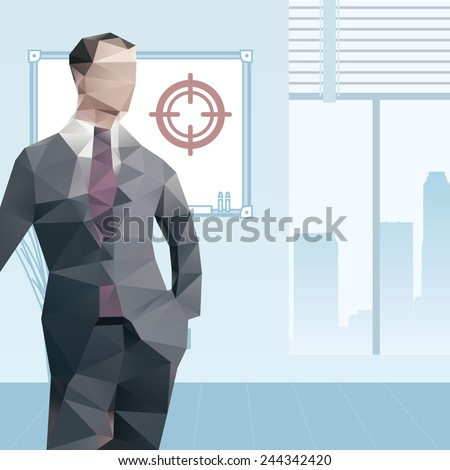 Polygonal office male manager - stock vector