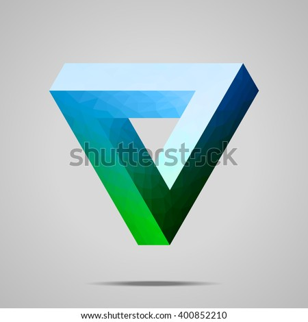 Polygonal Penrose triangle.  Blue - green gradient Impossible geometric element. Optical illusion. Low poly design. - stock vector