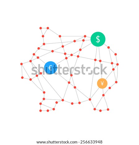 polygonal piggy bank with money signs. concept of poverty, deposit policy, nest egg, money for a rainy day, thrift. isolated on white background. triangle style modern logo design vector illustration - stock vector