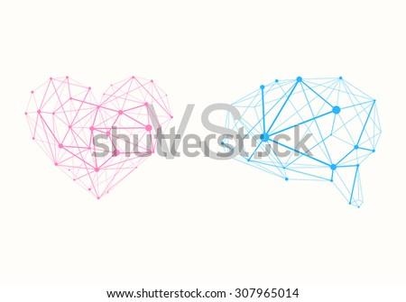 Polygonal Pink Heart vs. Polygonal Blue Brain - stock vector