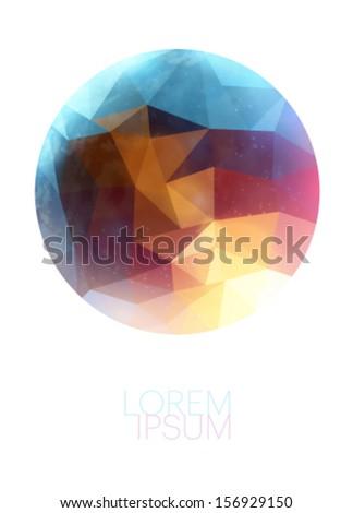 polygonal planet illustration - stock vector