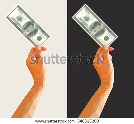 polygonal polygonal hundred-dollar bill in her hand up - stock vector