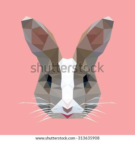 polygonal rabbit head, polygon animal head, isolated vector - stock vector