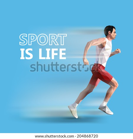 polygonal running man. Vector geometric illustration. sport is life - stock vector